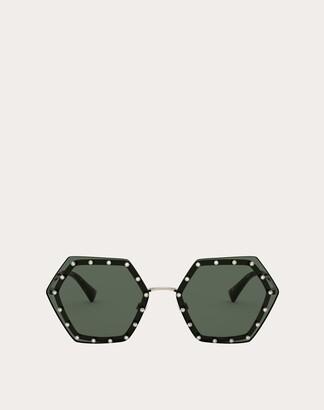 Valentino Hexagonal Metal Frame With Crystal Studs Women Gold/green 100% Metallic Fibre OneSize