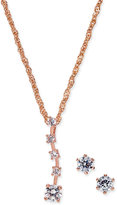Charter Club Rose Gold-Tone Cubic Zirconia Pendant Necklace and Stud Earrings Set, Only at Macy's