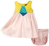 Tea Collection Aurora Colorblock Dress & Bloomer Set (Baby Girls)