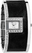 Marciano Women's | Diamond Studded Square Face Black Leather Panel Bangle | HA0276
