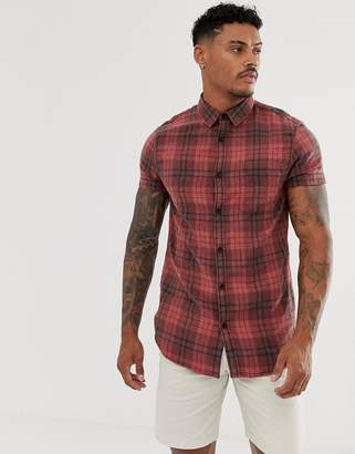 New Look red check short sleeve shirt