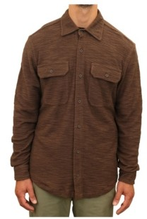 Mountain and Isles Men's Textured Knit Two Pocket Woven Button Down Shirt