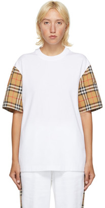 Burberry White Vintage Check Sleeve T-Shirt