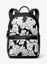 Michael Kors Greyson Floral-Print Pebbled Leather Backpack