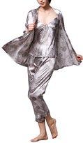Dolamen Women's Nighties Satin Pyjamas Set, Ladies Silky Nightwear Flower Printing Chemise Long