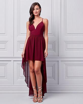 Le Château Chiffon & Lace High-Low Gown