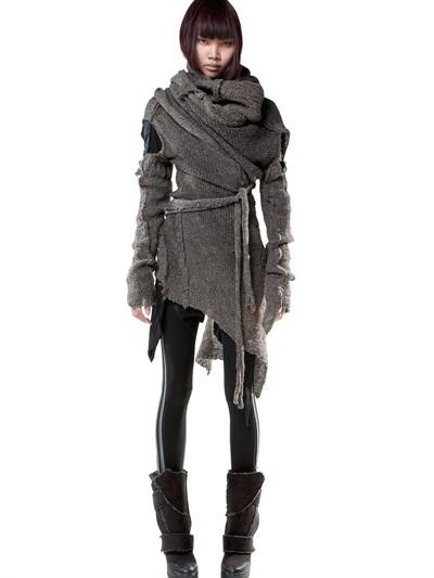 Draped Wool Knit Cardigan