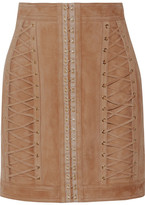 Balmain Lace-up Suede Mini Skirt - Sand