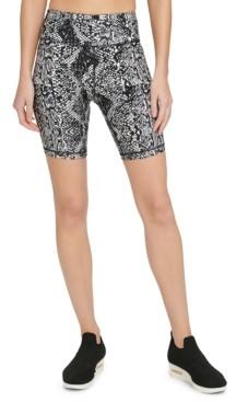 DKNY Sport Snake-Print High-Waist Bike Shorts