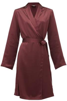 La Perla Belted Short Silk-satin Robe - Womens - Burgundy
