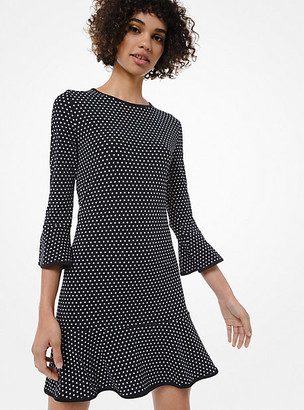 Michael Kors Mod Dot Matte-Jersey Flounce Dress