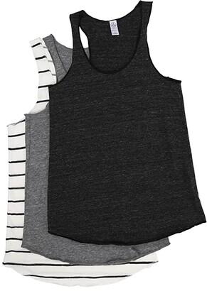 Alternative Meeg's Racerback Tank Bundle (Eco Black/Eco Grey/Eco Ivory Ink Stripe) Women's Sleeveless