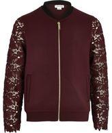 River Island Girls burgundy lace sleeve bomber jacket