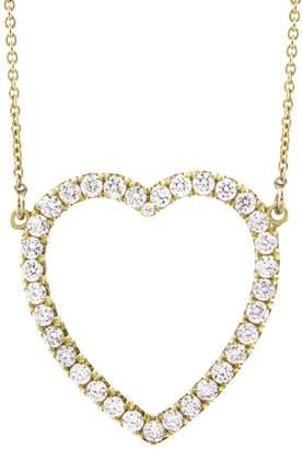 Jennifer Meyer Open Heart Diamond Necklace - Yellow Gold