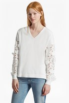 French Connection Manzoni 3D Floral Lace Sleeved Jumper