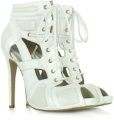 McQ by Alexander McQueen Sport Cutout White Leather Bootie