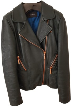 Cédric Charlier Green Leather Leather Jacket for Women