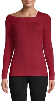 Donna Karan Asymmetrical Neckline Sweater