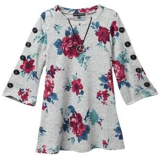 My Michelle mymichelle Floral Hacci Dress & Necklace Set (Big Girls)