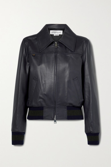 Victoria Beckham Leather Bomber Jacket - Midnight blue