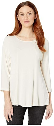 Liverpool 3/4 Sleeve Scoop Neck Top w/ Panels (Pale Sand) Women's Blouse
