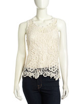 Romeo & Juliet Couture Lace Cutout Tank Top, Ivory