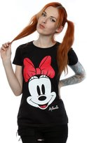 Disney Women's Minnie Mouse Distressed Face T-Shirt X-Small Black