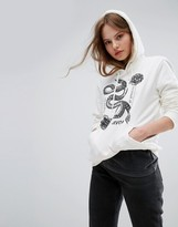 RVCA Oversized Boyfriend Hoodie With Serpent Print