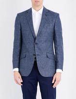 Richard James Houndstooth-pattern linen and wool-blend jacket