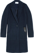 Alexander Wang Leather-trimmed boiled wool coat