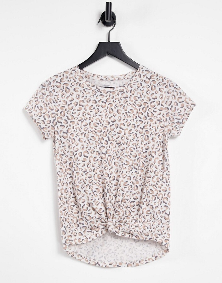 Abercrombie & Fitch tie front t shirt in leopard