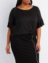 Charlotte Russe Plus Size French Terry Ruffle-Trim Sweatshirt