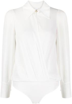 Elisabetta Franchi Shirt-Style Oversized Collar Bodysuit