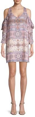 Parker Mandala-Print Cold-Shoulder Mini Dress