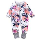 honeys Infant Newborn Baby Girl Zipper Print Romper Bodysuit Outfit (6-12months, )