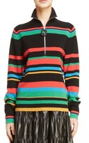 J.W.Anderson Women's Stripe Half Zip Stretch Merino Wool Sweater