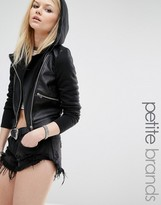 Noisy May Petite Hooded Faux Leather And Jersey Biker Jacket