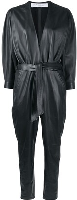 IRO Healy belted leather jumpsuit