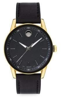 Movado Museum Sport Goldtone& Black Leather Strap Watch - Black