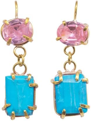 Lily Flo Jewellery Alvina Pink Zircon & Turquoise Drop Earrings