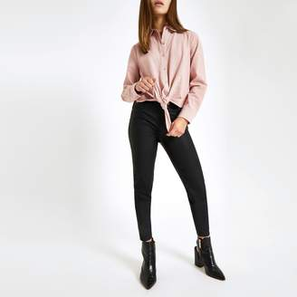 River Island Womens Petite Pink tie front shirt