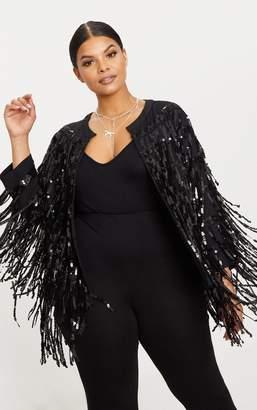 PrettyLittleThing Plus Black Sequin Fringed Jacket