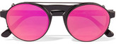 Westward Leaning Round-frame Acetate Sunglasses With Clip-on Lenses - Black