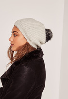 Missguided Cream Contrast Faux Fur Pom Pom Beanie