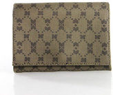 Nina Ricci Vintage Brown Coated Canvas Geometric Pattern Bifold Wallet