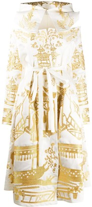 Yuliya Magdych Metallic Embroidered Hooded Dress