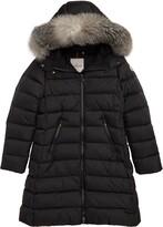 Moncler Abelle Down Coat with Genuine Blue Fox Fur Trim