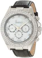 Freelook Women's HA6306-9 White Mother-Of-Pearl Chronograph Dial With Stones Silver Case Swarovski Bezel Watch