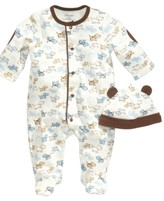 Little Me Cute Puppies Hat and Footed Coveralls Set, Baby Boys