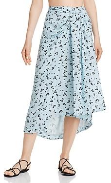 Paper London Siren Printed-Silk Skirt